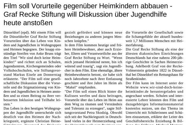 Artikel der epd Landesdienste am 14.02.2019 – Film soll Vorurteile gegenüber Heimkindern abbauen - Graf Recke Stiftung will Diskussion über Jugendhilfe heute anstoßen.